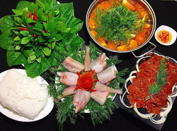Nguyên liệu cho món Lẩu cá khoai Quảng Bình
