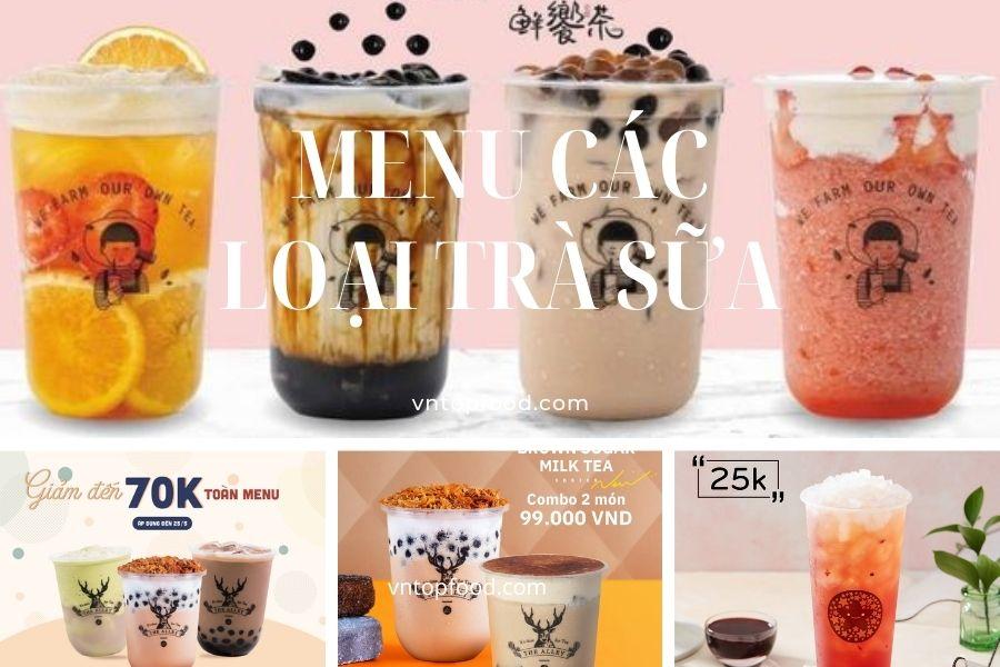 Giá menu các loại trà sữa