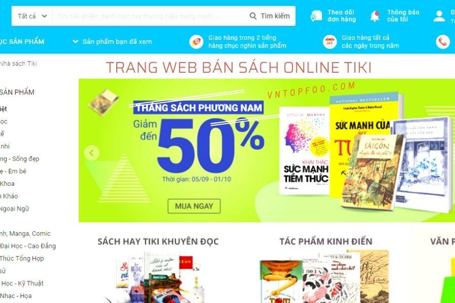 Trang web bán sách online lớn tiki
