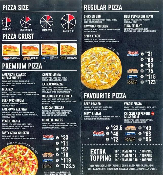 Menu thực đơn Domino Pizza đa dạng và hấp dẫn