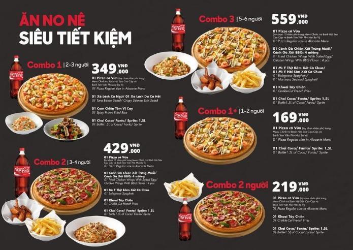 Menu thực đơn Pizza Hut