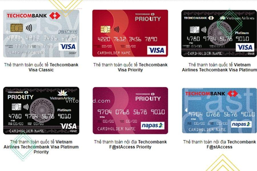 các loại thẻ ATM Techcombank